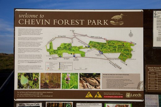 Chevin Forest Park board, shows the park walks and landmarks