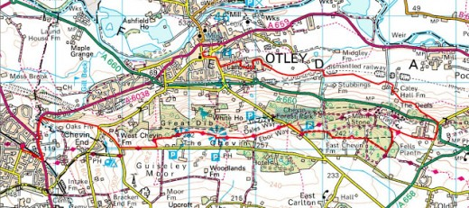 Otley Chevin trek map, Consult your OS map on the way