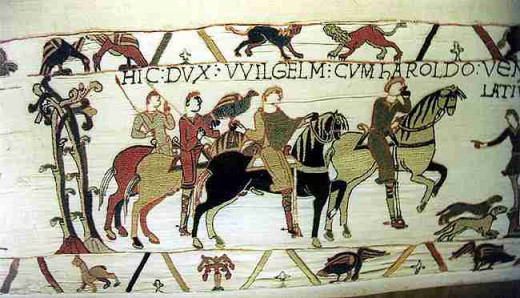 Harold hawking with William - Bayeux Tapestry detail