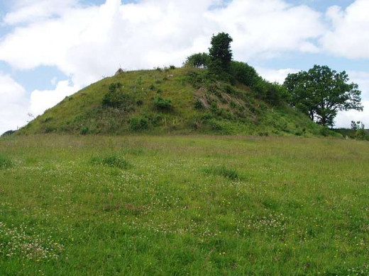 Ewyas Harold - a Norman castle was built on the site of Harold's earlier stronghold. This is what remains of the motte seen from the south-east across the site of the bailey