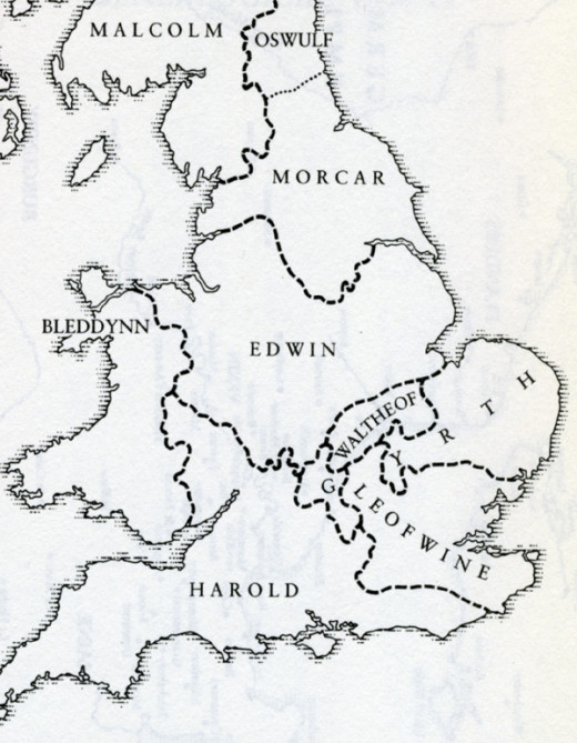 Dispositions of the English earls up to 1066 - after Harold and brothers Gyrth and Leofwin were slain on Caldbec Hill near Hastings there were only Eadwin, Morkere and Waltheof. Oswulf/Osulf and his kinsman Gospatric ruled north of the Tees