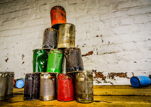 An artful display of recyclable cans