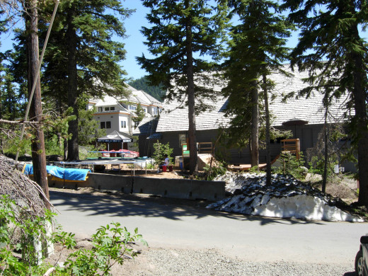 Rear view of Main Lodge, with trampolines and mini skate park.