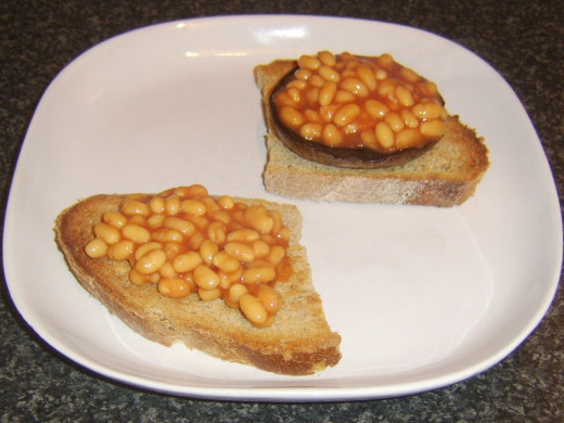 Beans are spooned on to toast and mushroom
