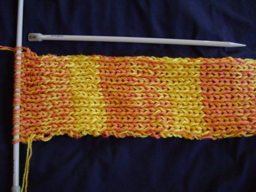 Two-strand ribbed scarf on large needles