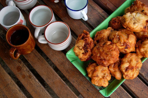 Make fritters with sweet potato, ripe banana, or half of each.