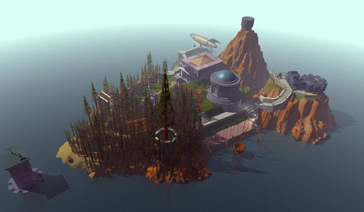 The island of Myst, where the story of the fist game spans across.