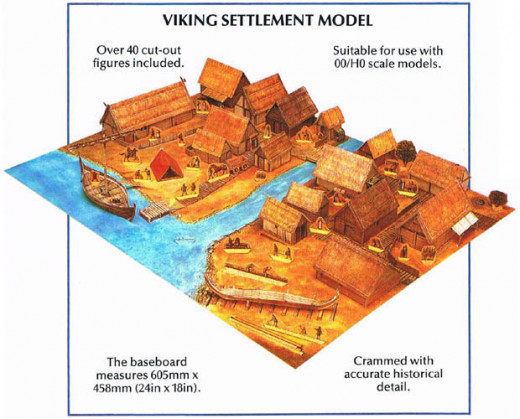 Usborne Card Model kit in book form of a Viking settlement in glorious colour with copious detail