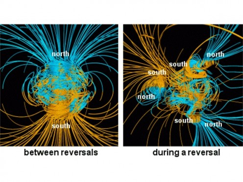 This shows Earth's magnetic field during a magnetic shifting of the poles.