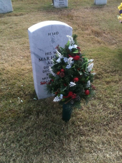 My mother's grave site, with a small Christmas tree with tiny birds.  She so dearly loved all birds.