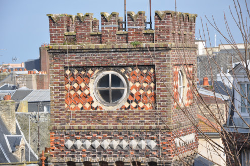 Brick tower of the 'Villa vénitienne', rue de Sygogne 7-11, Dieppe, Normandy, France