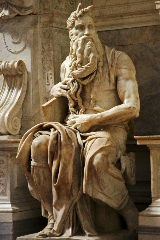 Moses by Michelangelo. No, he didn't have horns. Yes, Mike knew that. It's an art thing, it represents something from Scripture.