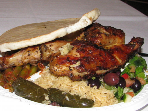 Greek food exhibiting dolmades