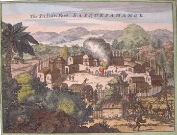 Image of a Susquehannock Fort, some years later, by a colonial artist
