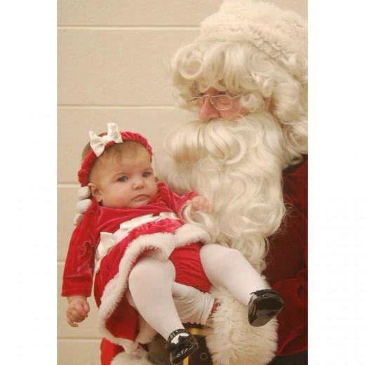 My great grand-baby meets Santa.