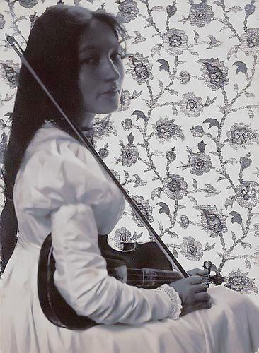 Accomplished Writer and Violinist Zitkala-sa with her violin, 1898