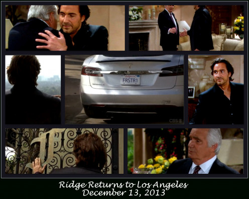 "After a 15 month absence Ridge returned to Los Angeles.  Who did he see first?  ""Dad"" Eric."