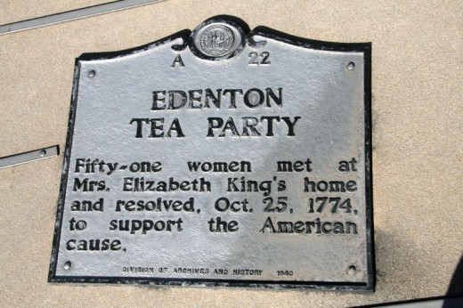 Plaque commemorating the Edenton Tea Party, when 51 women gathered at Mrs. Elizabeth King's home and resolved to support the American side during the American Revolution. October 25, 1774.  North Carolina