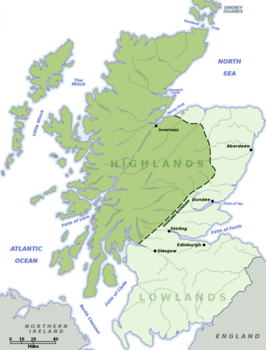 Maps of highlands and lowlands of Scotland.