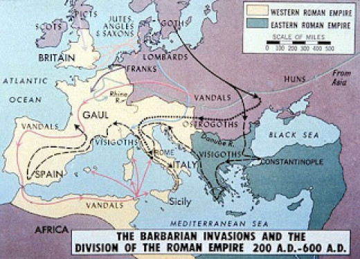 The tribes. Once the Visigoths had worked their way through Italy they pushed west to the Iberian peninsula. The Ostrogoths moved north into the Alps, Vandals to North Africa and Franks into Gaul. The Lombards settled in northern Italy