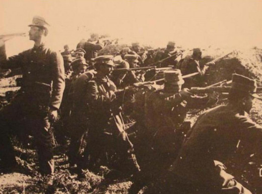 Greek infantry unit ready to charge in the Battle of Bizani.