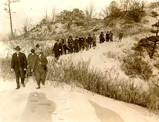 Colonel Richard Lieber and Stephen Mather at the future Indiana Dunes State Park in 1916