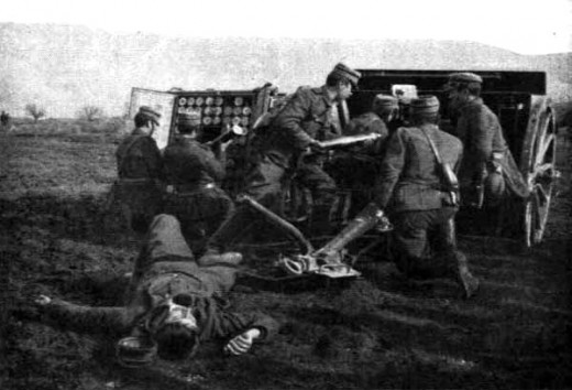 Greek artillery during Balkan wars 1912.