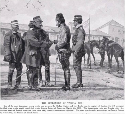 Illustration of the surrender of Yanina to the Greek Army after the Battle of Bizani. Pictured are Greek Cavalry General Alexandros Soutsos (center left) shaking hands with the Ottoman representative, Major Vehib Bey.