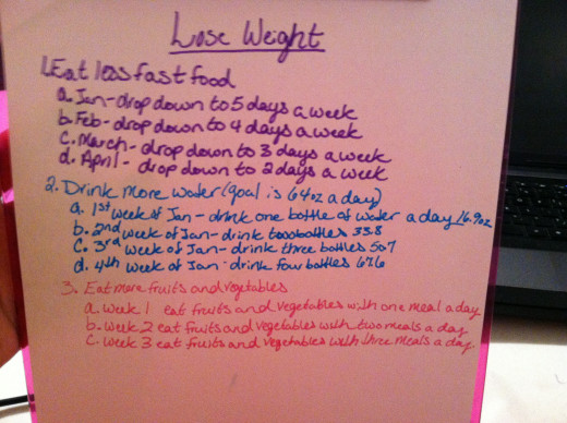 This is my goal list.  I made it brightly colored to keep the mood happy.