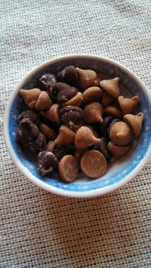 Chocolate chips and peanut butter chips can be a snack all by themselves.