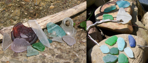 Beach glass with distinguishing marks (on left) versus more weathered beach glass (on right).