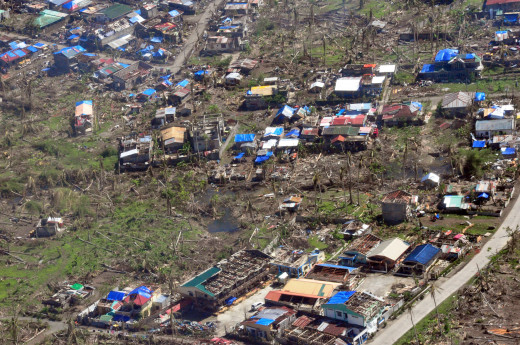 An aerial view of Tacloban City reflects the damage brought by Typhoon Haiyan (Yolanda).