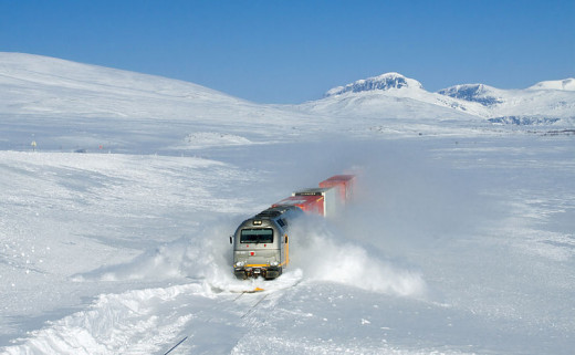 Snow pack slowing down a train