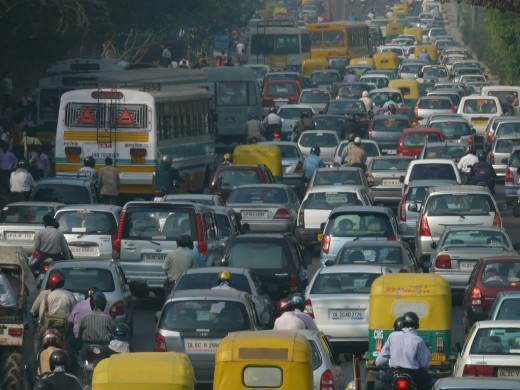 This scene is now typical in large metropolises around the world. All to often, the cars and trucks don'e move too fast and grid lock is a common problem. Massive amounts or pollution from fossil fuels result.
