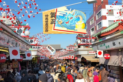 The New Year on Nakamise-dori, in Asakusa, Tokyo