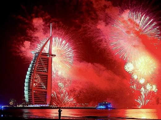 In Dubai: A fantastic and breathtaking scene of fireworks display in Dubai.