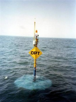 The Power Buoy produces energy from tidal waves in the ocean.