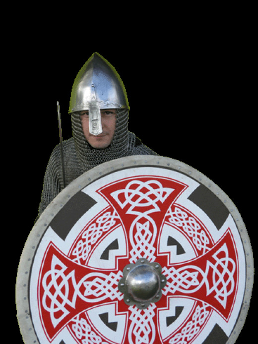 Danish huscarl - the huscarls or household warriors were introduced to England by Knut in the early years of the 11th Century. In the reign of  Harold II they were equipped with kite-shaped shields like those of the Normans