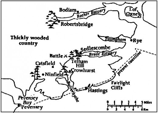 Pevensey to Hastings coastline in 1066, very different today's long, curved shingle strand (broken line)