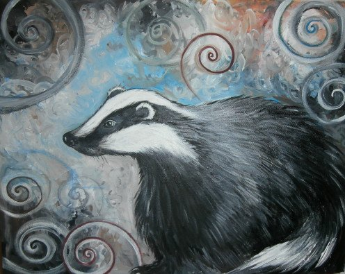 """Spiral Badger"" is one of my larger paintings. It was used to raise money for the Badger Sabs and wildlife groups who were anti-cull. I had a limited run of prints made."
