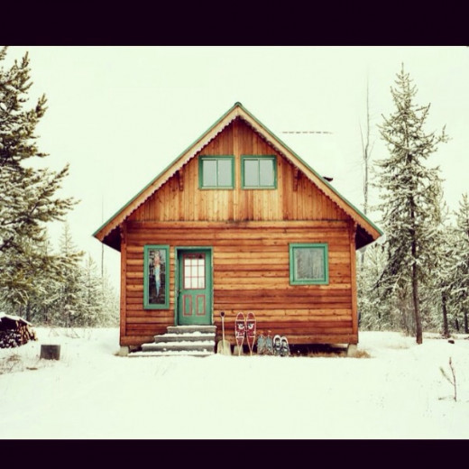 My cousin's snowy cabin on the Vermont/Canada border.