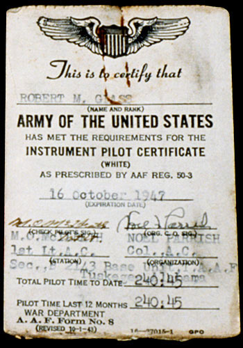 Instrument certificate for Tuskegee Airman Robert M. Glass, signed by Parrish