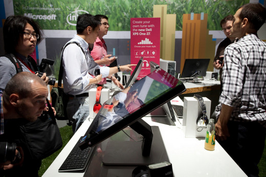 For Windows 8 AIO Computers, it is important that the screen can tilt backwards, as seen in this Dell XPS One, so the touchscreen can be used without developing constant shoulder pain.