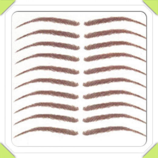 "The ""Simone Brow"" is a realistic looking medium/dark brown removable temporary tattoo eyebrow.  It is 2-1/8 "" in length with a slight arch.   The brow is thin in width and looks very natural; giving the appearance of tiny eyebrow hairs."
