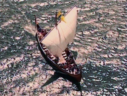 Seagull's eye view of a Viking ship under sail - could be in a fjord, with the water being relatively calm