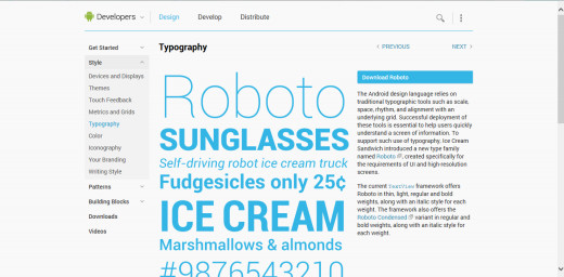 This page shows the various kinds of modern fonts you can use to create a sleek feel to your apps and games. You can also download the Roboto font too.