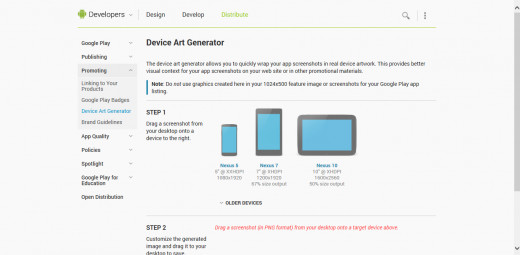 This is the Device Art generator where you add screenshots to these devices, which will show users real gameplay.