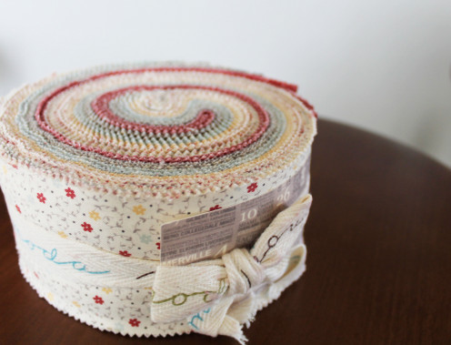 This is not the jelly roll I used for this particular quilt, but this is what one looks like when you buy it.