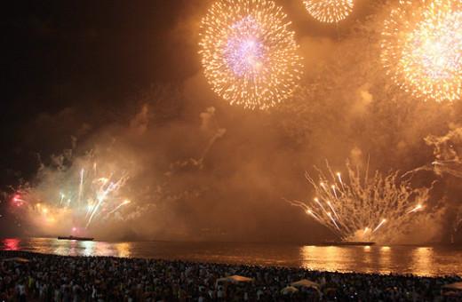 Copacabana Beach, Rio de Janeiro on New Year's eve.