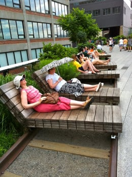 You never know who might be sunbathing along the High Line in Chelsea.